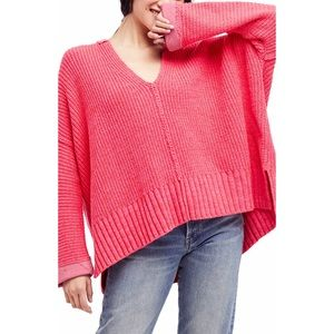 Free People Take Me Over Pink V-Neck Sweater XS S